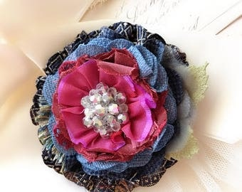 Large Flower Brooch - Fabric Flower Pin - Mother's Day Gift - Blue Flower Pin - Textile Jewelry - Colorful Jewelry - Navy Blue Corsage Pin