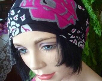 womens Headband  Wide Headband pink white print  mesh  Comfortable Yoga turband