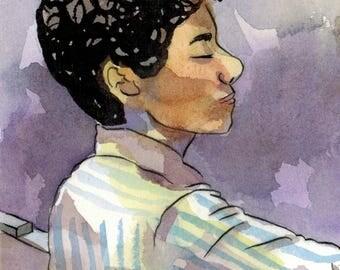 Maryam Mirzakhani - Watercolor Postcard