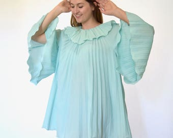 60s Baby Blue Circus Angel Sleeve Trapeze Mini Dress osfm xs s m l