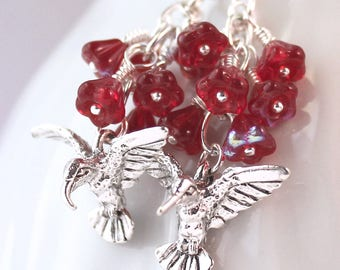 Red Hummingbird Earrings - Ruby Red Czech Glass Flower Beads, Nature Jewelry, Silver Earrings, Pierced Earwires