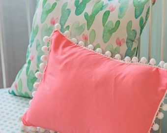 Cactus Blossom Accent Pillows | Matching Desert Cactus Throw Pillows for Custom Girl Nursery | Coral and Mint Nursery Accessories