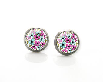 Pure titanium jewelry earrings for sensitive ears Pink Turquoise Blue Summer Flowers Hypoallergenic Stud | Titanium Jewelry Stud earrings