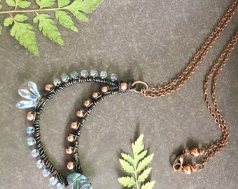 Oxidized Copper Wire Wrapped Cresent Moon Necklace