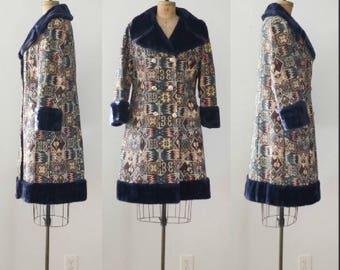 Vintage 1970's Tapestry Fur Trim Coat