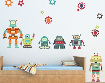 Robot Wall Decals, Robot Decals, Nursery Wall Decal, REUSABLE FABRIC Wall Decals, B101