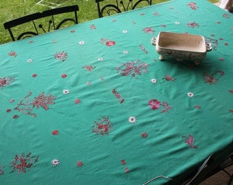 Large Vintage Green with Floral Red Embroidery Tablecloth