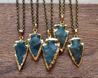 Gold Brass Aventurine Rough Arrowhead Necklace/ Hand-Knapped Rough Arrow Mineral Gem/ Gemstone Bohemian Necklace (EP-BNA10-AV)