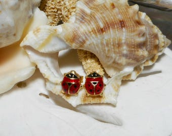 Ladybug Earrings 14k Yellow Gold Red and Black Enamel .90 gram Made in Italy