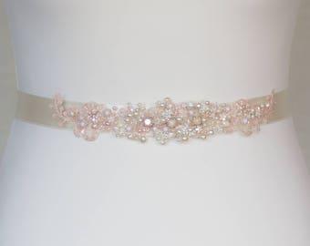 Bridal sash, Blush wedding belt, Vintage bridal sash, Vine wedding belt, lace bridal sash, lace, pearl, crystal