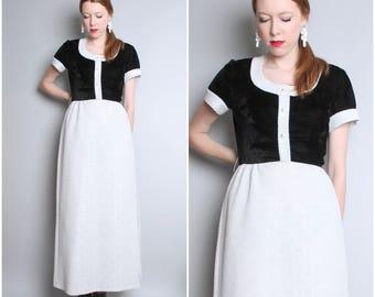 1960s Black Velvet and Silver Maxi Dress / 60's Long Black and White / R & K Originals / Medium