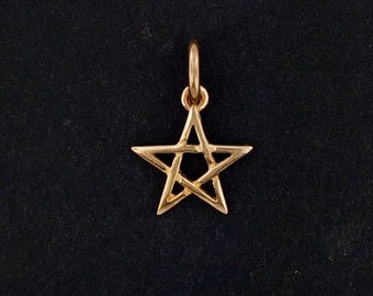Pentagram Charm in Antique Bronze