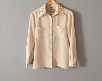 cut out loop blouse | cream white embroidered blouse | cut out pocket poet blouse