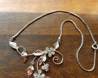 D'or Sterling Silver Rhinestone Necklace
