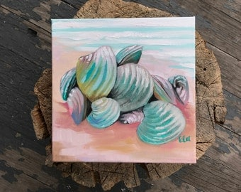 Clams - Oil Painting - Pink and Teal - freestanding art