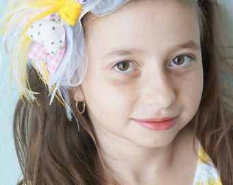 SHIP READY Pink Yellow Lavender Tulle Bow Lace Headband Vintage Ribbon Flower Girl Spring Garden Wedding Bridal Hair Clip Bride Headpiece