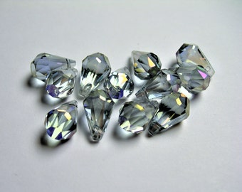 Crystal briolette  - 12 pcs - 9mmx14mm - top sideways drill - Faceted teardrop crystal  beads - AB finish - mystic glacier grey - CBC1