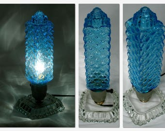Vintage Art Deco blue glass Lamp table side accent lamp