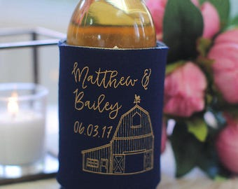 Wedding Favors - Personalized Barn Farm Rustic Wedding Can Coolers, Southern Wedding Favors, Country Wedding, Reception Favors for Guests