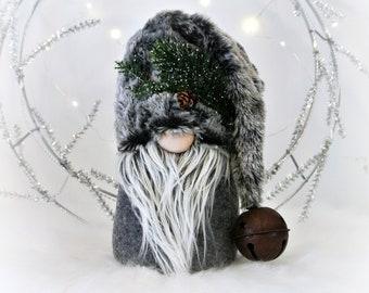 Gray Woodland Fur Nordic Gnome, Tomte, Nisse, Gnome, Scandinavian Gnome