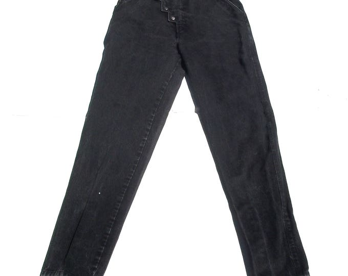 Black Riding Jeans | 30 waist 80s vintage geometric unique button up silver tab ultra high pocketless denim cotton jeans large L 9 10 11 12