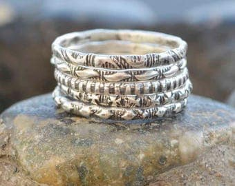 Sterling Patterned Rings, Silver Stanped Rings, Silver Stacking Rings, Silversmith Rings