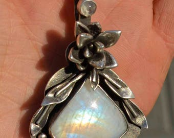 Rainbow Moonstone Necklace, Flower Necklace, Succulent, Statement Necklace, Sterling Silver, Silversmith