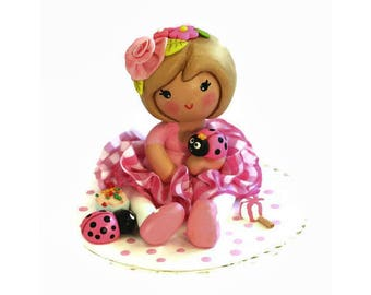 Pink Ladybug Party, Birthday Cake Topper,  Little Girl  First 1st 2nd Birthday, Ladybug Cake Decor, Clay Cake Topper Pink Cake Decoration,