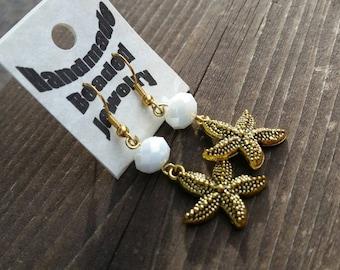 White Velvet and Gold Starfish Earrings - womens earrings - beach - ocean - Mom Gifts