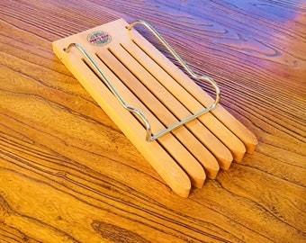 "Wood Pants Or Skirt Hanger 1950's ""Pants Rak"" Vintage Rack Portable Hanger Glines Co"