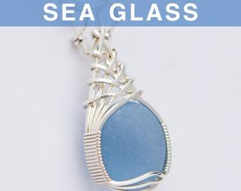 Cornflower blue Sea Glass Pendant