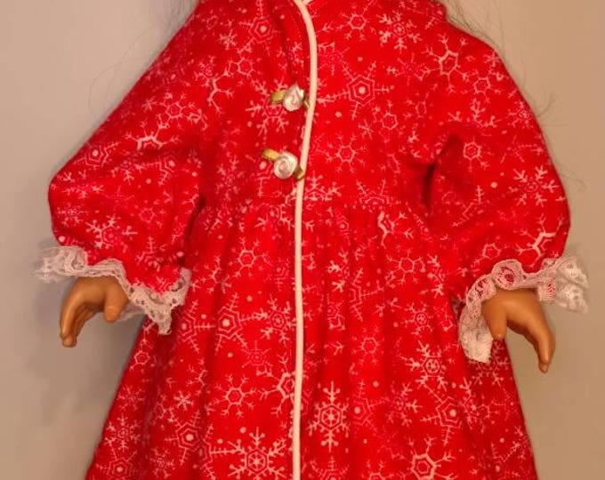 Red snowflake print christmas flannel bathrobe fits 18 inch dolls