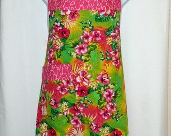 Hawaiian Plus Size Apron, Polynesian, Flirty Fun, Maui, Tropical, Floral,  Custom With Name, No Shipping Fee, Ready To Ship TODAY, AGFT 1086