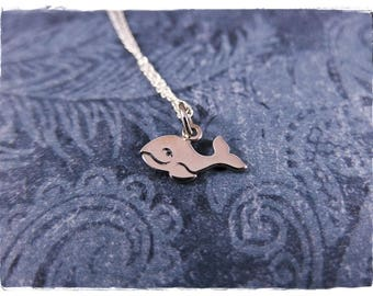 Tiny Whale Necklace - Sterling Silver Whale Charm on a Delicate Sterling Silver Cable Chain or Charm Only