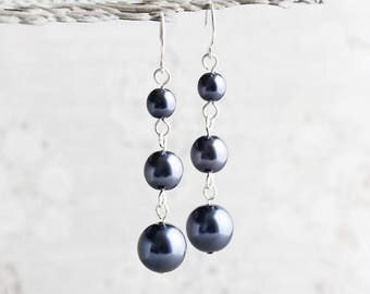 Navy Blue Crystal Pearl Dangle Earrings on Silver Plated Hooks