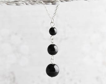 Glossy Black Crystal Pearl Pendant Necklace on Silver Plated Chain