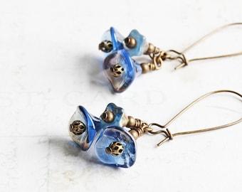 Denim Blue Flower Bead Cluster Dangle Earrings on Antiqued Brass