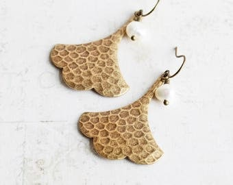 Antiqued Brass Ginkgo Leaf Earrings with White Freshwater Pearl