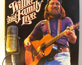 "Willie Nelson Vinyl Record Album 2LP 1980s LIVE Country Western Outlaw Music Pro Marijuana Activist ""Willie & Family Live"" (1978 Cbs)"
