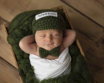 Newborn Photo Prop - Personalized Hat - Baby Name Hat - Infant Boy Crochet Outfit - Bow Tie - Newborn Boy Hat Tie - Photo Props for Boys