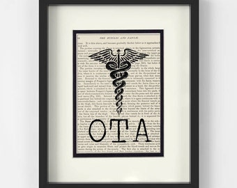 OTA over Vintage Medical Book Page - OTA Gift, Occupational Therapist Assistant Gift, Occupational Therapy Assistant Gift, Gift for OTA