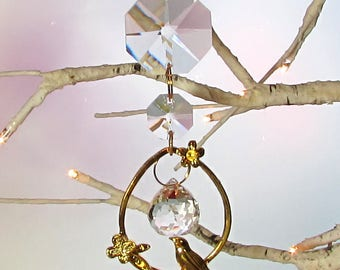 Bird On A Branch, Crystal Prism Sun Catcher, Mother's Day Gift, S1-100