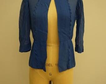 Vintage 1920s Blue Silk Chiffon Jacket / 20s Long Sleeve Silk Art Deco Ruffle Blouse / Antique 1920s Bed Jacket Lingerie / Mod Evening Top