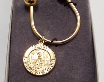 Avon Presidents Club Key Horseshoe Ring Gold Tone Vintage 1984 Tribute Discs Large Round Screw Off Beads Avon's Calling Vintage Scene