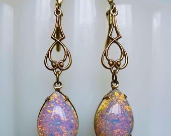 Pretty in Pink // Vintage 1950s Pink Fire Opal Earrings on Antiqued Brass, October Birthstone Bohemian Bohochic Art Deco Victorian Flapper