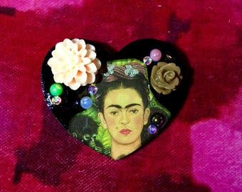Frida Kahlo Heart Brooch.