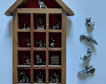 Vintage Set of Tiny Metal Figurines inside Mini Wood Shelving Unit