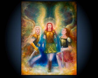 Angel Love Warriors! Matted Fine Art Paper Gallery Print of Original Painting by Fae Factory Artist Dr Franky Dolan (Fine Art Wall Print)