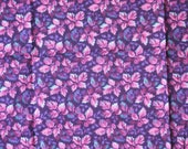 1/4 YARD, Purple Pink Blue Floral Print, Quilting Cotton or Craft Fabric, Allover Flowers Leaves, 21 x 18, B44