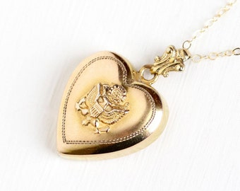 Sale - Vintage 10k Rosy Yellow Gold Filled US Seal Puffy Heart Pendant Necklace - WWII Repousse Eagle Great Seal of United States Jewelry